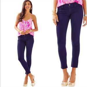 Lilly Pulitzer Navy Blue Worth Skinny jeans sateen